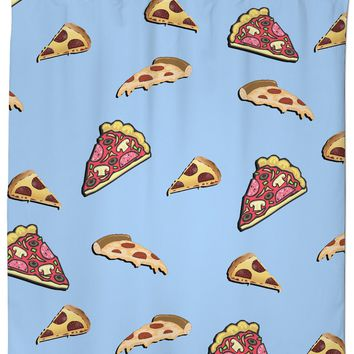 Pizza at light blue all-over-print shower curtain, yummy fastfood themed bathroom