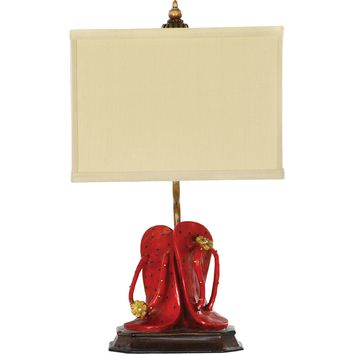 Flip Flop Fun Accent Lamp Red Fabric Shade