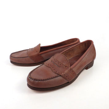 Ralph Lauren Shoes Vintage Polo Penny Loafers 1980s Deadstock Brown Women's size 9 AA