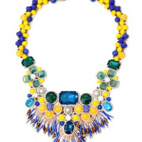 Blue Tassel Fringe Statement Necklace