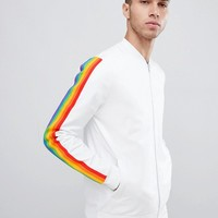 ASOS DESIGN co ord retro bomber jacket with rainbow stripe at asos.com