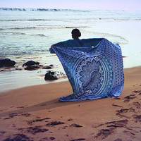 Blue Moon Mandala Tapestry Gypsy Beach Throw / Bedspread / Hippie Wall Hanging
