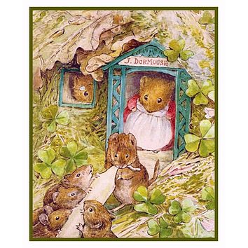 Dormouse Family Makes Candles inspired by Beatrix Potter Counted Cross Stitch or Counted Needlepoint Pattern