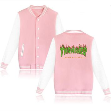 Thrasher flame special large size tide coat plus cashmere couple baseball clothing Green letters-3