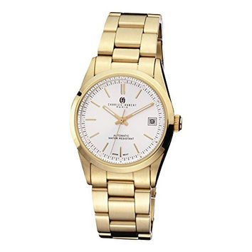 Mens Ip Gold-plated Stainless White Dial Watch by Charles Hubert Paris Watches, Best Quality Free Gift Box Satisfaction Guaranteed