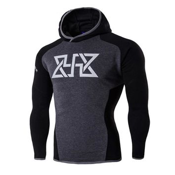 Mens Casual Cool Compression Sweatshirt Pullover Hoodie