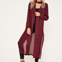 Missguided - Burgundy Long Sleeve Maxi Duster Jacket