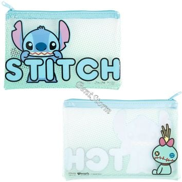 Licensed cool LILO STITCH SCRUMP Frosted Clear Pencil Case Cosmetic Tote Bag Disney Loungefly