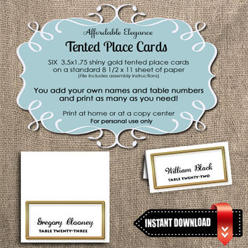 INSTANT DIGITAL DOWNLOAD Elegant Shiny Gold Tented Place Cards
