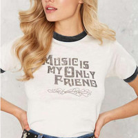 """White """"Music Is My Only Friend"""" Letter Print Short Sleeve T-Shirt"""