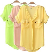 Casual Candy Colored Chiffon Shirts for Summer