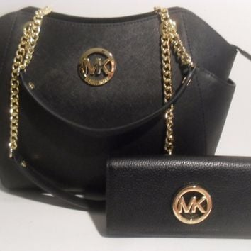 NWT Michael Kors Black Leather MK Gold Wallet Travel Chain Saffiano Tote Bag