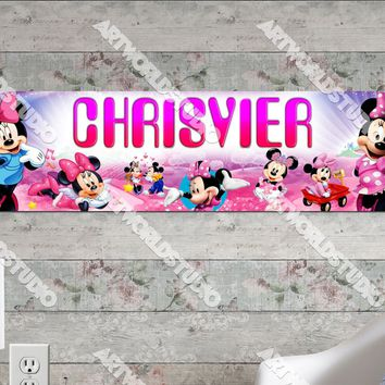 Personalized/Customized Minnie Mouse #1 Poster, Border Mat and Frame Options Banner 143