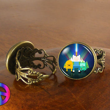 Adventure Time (1) Jake/Finn/BMO Beemo Womens Adjustable Ring Rings Jewelry Gift