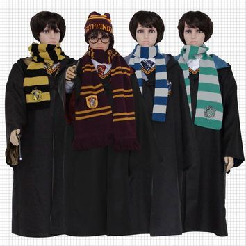 Halloween Harri Potter Cosplay Costume  potter cloak Gryffindor Slytherin Ravenclaw hufflepuff Robes Cloaks For Adults and Kids