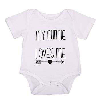 MY AUNTIE LOVES ME Baby Boys Girls New Summer Streetwear Short Sleeve Bodysuit Jumpsuit Cotton Clothes Outfits
