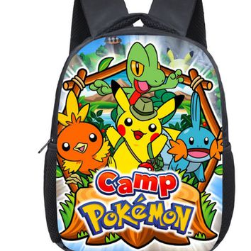 Boys bookbag trendy 12 Inch Pokemon Pikachu Haunter Eevee Monster Kindergarten School Bags s Children Baby Toddler bag Kids Backpack Gift AT_51_3