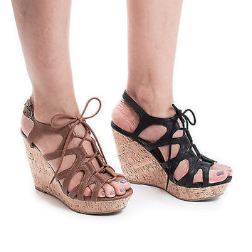 Murphy Lace Up Sling Back Faux Corkscrew Platform High Wedge Sandals
