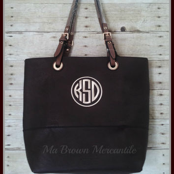 Monogrammed Dark Brown Handbag - Personalized Shopper - Large Tote Bag - Unique Monogrammed Gift - Faux Leather Tote Bag