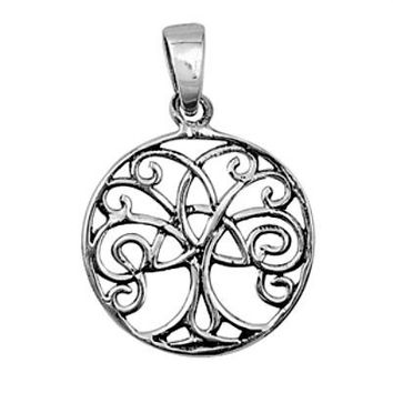 Sterling Silver Classic Family Tree of Life Celtic Knot Infinity pendant (Yggdrasil)