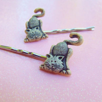 Yellow Alley Cat  Bobby Pins - Plastic Bobby Pins - Kitty Cat Lover - Kitten Hair Clip - Kitty Cat Bobby Pins - Hair Accessories