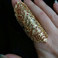 Exotic Full Finger Ring - Gold Colored Vintage Style Ring - Gold Colored Filigree Ring - Long Finger Ring - Gold Gypsy Ring - Gold Boho Ring