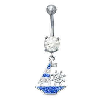 014 Gauge Blue and White Crystal Sailboat Dangle Belly Button Ring in Stainless Steel - - View All - PAGODA.COM