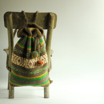 Green Hand-woven Backpack - Wool Backpack - Handmade Backpack