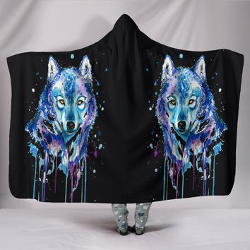 Watercolour Wolf Black Plush Lined Hooded Blanket