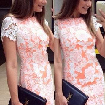 White Floral Lace Short Sleeve Mini Dress