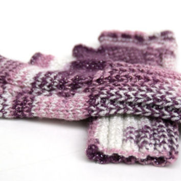 Fingerless Gloves, Purple , Lilac and White ,Mittens, Handmade, Hand Knitted