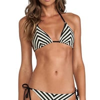 vitamin A Natalie Mitre Stripe Halter in Black