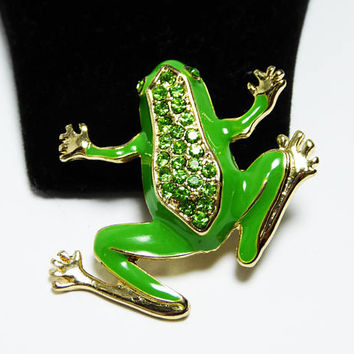Green Enamel & Rhinestone Frog Pin - Grass Green with Sparkling Rhinestones - Gold Tone Accent - Vintage 1990s GNW New in Box