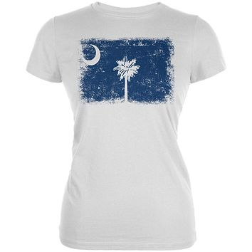 Born and Raised South Carolina State Flag Juniors Soft T Shirt