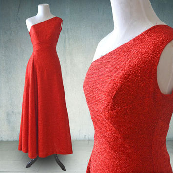 1960s Red Lame One Shoulder Dress Mike Benet Glittery Dance Dress