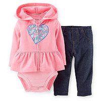 Carters Girls 3 Piece Pink Peplum Hooded Cardigan with Heart Art, Striped Rib Bodysuit and Navy Pant Set