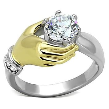 WildKlass Stainless Steel Novelty Ring Two-Tone IP Gold (Ion Plating) Women AAA Grade CZ Clear
