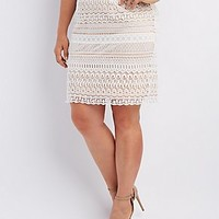 PLUS SIZE CROCHET PENCIL SKIRT