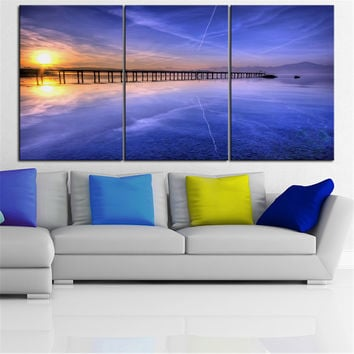 NO FRAME 3pcs pier on a lake at sunset Printed Oil Painting On Canvas wall Painting for Home Decor Wall picture