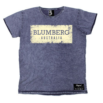 Blumberg Australia Men's Australia Cream Distressed Design Premium Denim T-Shirt