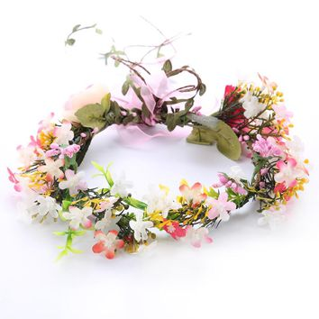Fashion Ladies Adjustable Flower Crown Beach Wedding Flowers Headband Wreath Hair Accessories Handmade Women Flower Headwear