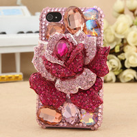 Galaxy S4 S3 Note II Phone Case 3D Pink Rose Shiny Crystals Cover