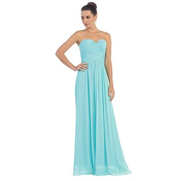 Starbox USA L6126 Sweetheart Ruched Chiffon Tifany Blue Bridesmaid Dress