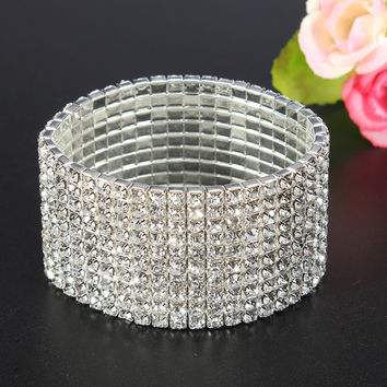 Bridal Silver Multi Rows Crystal Wide Stretch Bracelet Women Jewelry