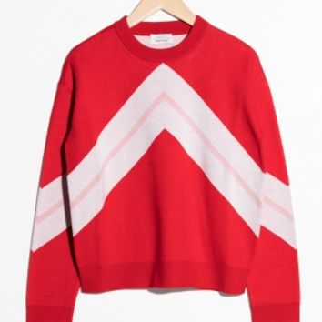 & Other Stories | Varsity Knit Sweater | Red
