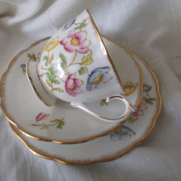 Royal Albert Bone China 'Anemone' cup, saucer and plate. Tea trio set. Ideal for vintage wedding, tea shop, display or use.