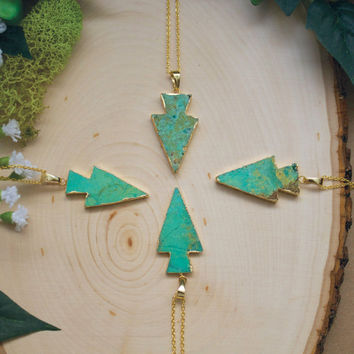 Arrowhead Necklace, Chrysoprase Arrowhead Necklace, Chrysoprase Arrowhead Pendant, Green Chrysoprase Necklace, Most Popular Jewelry