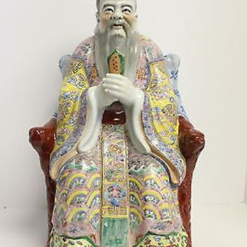 Beautiful Large Porcelain Famous Scholar Figurine Famille Rose 21""