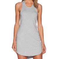 Bobi Light Weight Cashmere Terry Dress in Gray