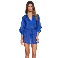 V-neck Ruffled Chiffon Mini Dress